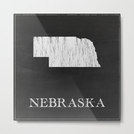 Nebraska State Map Chalk Drawing Metal Print