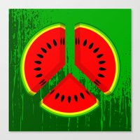 watermelon Canvas Prints featuring Watermelon by mailboxdisco