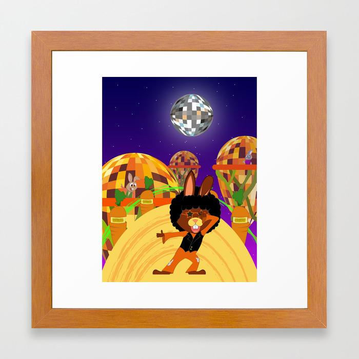 Disco bunny carrot world Framed Art Print