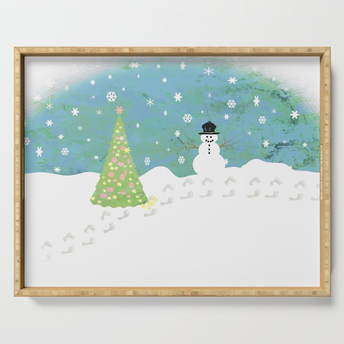 Snowman on Christmas Day Serving Tray