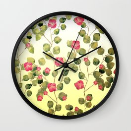 """""""Spring pink flowers and leaves"""" Wall Clock"""