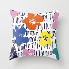 Bold Pen and Ink Floral Throw Pillow