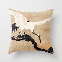 Crane Bird Branch Traditional Japanese Wildlife Throw Pillow