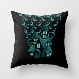 Wrath Blue Halloween Haunted House Bat Flyover Throw Pillow