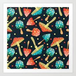 Bright mushrooms Art Print