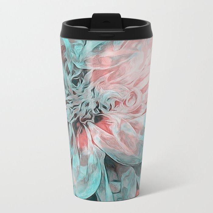 Abstract Floral Teal Metal Travel Mug