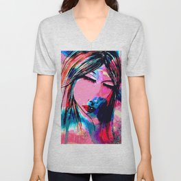 Dream of a woman on a winter night Unisex V-Neck