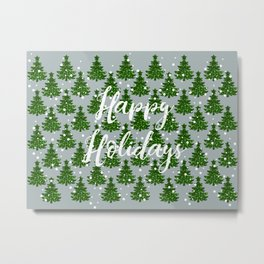 Green Sparkle Christmas Tree Farm Happy Holidays Metal Print