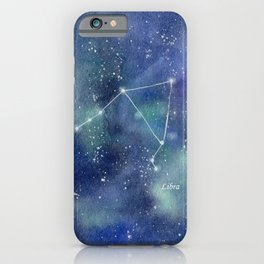 Libra Star Constellation with Galaxy Background iPhone Case
