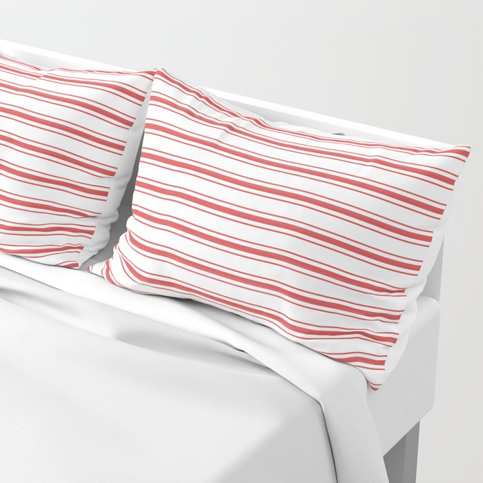 Mattress Ticking Wide Striped Pattern in Red and White Pillow Sham
