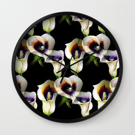 Arum Calla Lilies Pattern in Watercolor Wall Clock