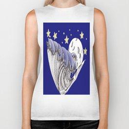 Blue Waves by Moonlight Biker Tank