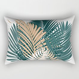 Gold and Green Palm Leaves Rectangular Pillow