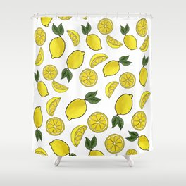 Easy Peasy Lemon Squeezy (white) Shower Curtain
