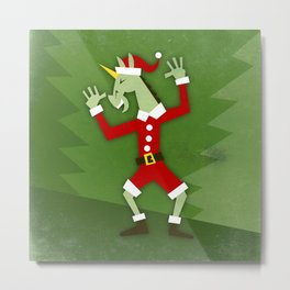 Santa Unicorn In the House Metal Print