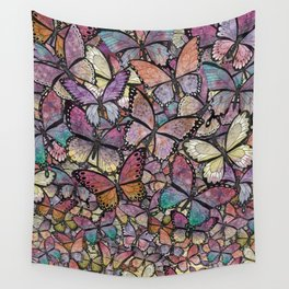 butterflies aflutter rosy pastels version Wall Tapestry