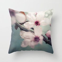 Spring blossom on rustic wooden table Throw Pillow