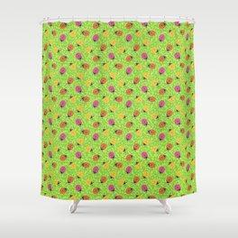 Ladybugs - Lime Green Ornamental Foliage Shower Curtain
