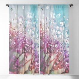 Dandelion Clock Pretty Water Droplets Sheer Curtain