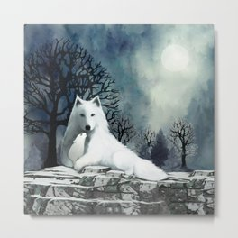 Wolf Mother and Pup Metal Print
