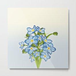 Bouquet of Blossoming Myosotis Flowers Metal Print