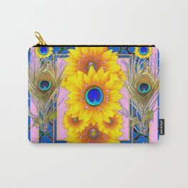 PINK-BLUE PEACOCK SUNFLOWERS DECO JEWELED Carry-All Pouch