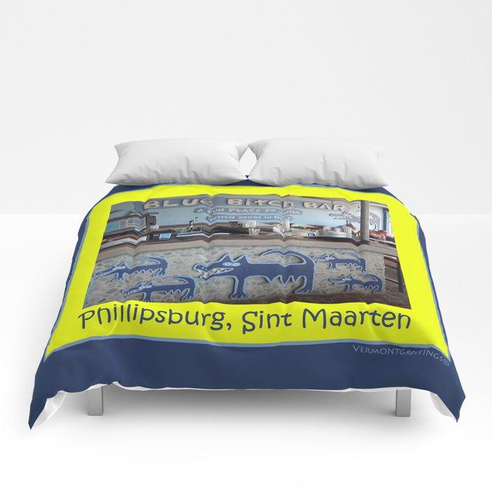 Blue Bitch Bar, St. Maartin Resort Travel Comforters