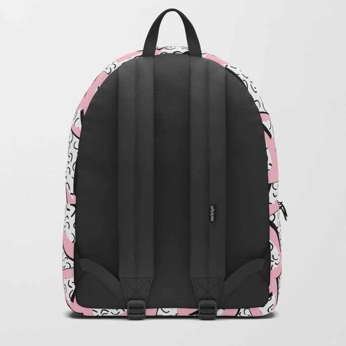 Crunk - throwback retro memphis design style minimal pattern print pink white and black Backpack
