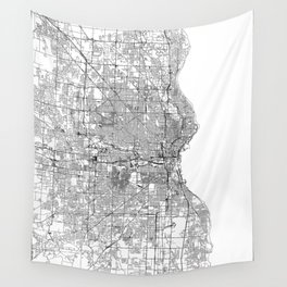 Milwaukee White Map Wall Tapestry