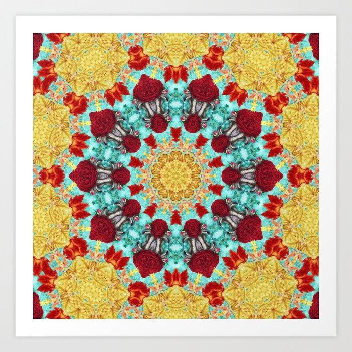Golden Lace Aqua Mandala Art Print