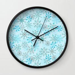 Christmas, Snow Flurries in Light Blue Wall Clock