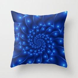 Electric Blue Spiral Fractal Throw Pillow