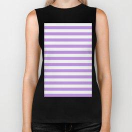 Narrow Horizontal Stripes - White and Light Violet Biker Tank