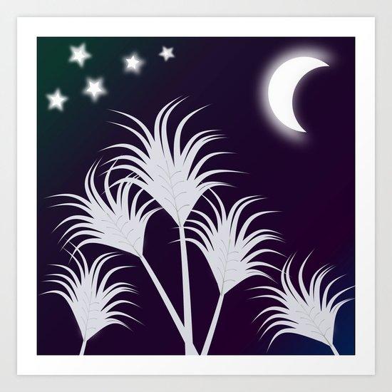 Palms at Night Art Print