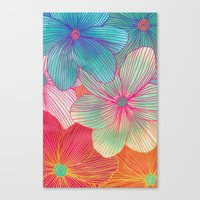 samsung Canvas Prints featuring Between the Lines - tropical flowers in pink, orange, blue & mint by micklyn