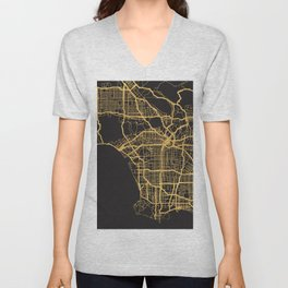 LOS ANGELES CALIFORNIA GOLD ON BLACK CITY MAP Unisex V-Neck