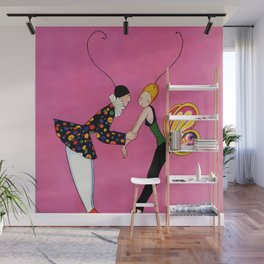 """""""Clown and Butterfly Girl"""" by Annie Fish Wall Mural"""