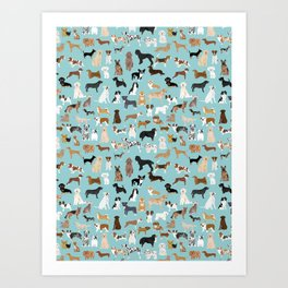 Dogs pattern print must have gifts for dog person mint dog breeds Art Print