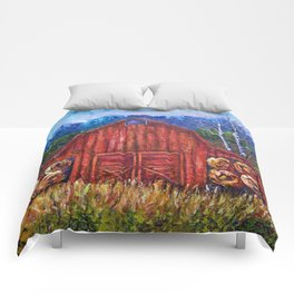 Red Barn by Lena Owens Comforters
