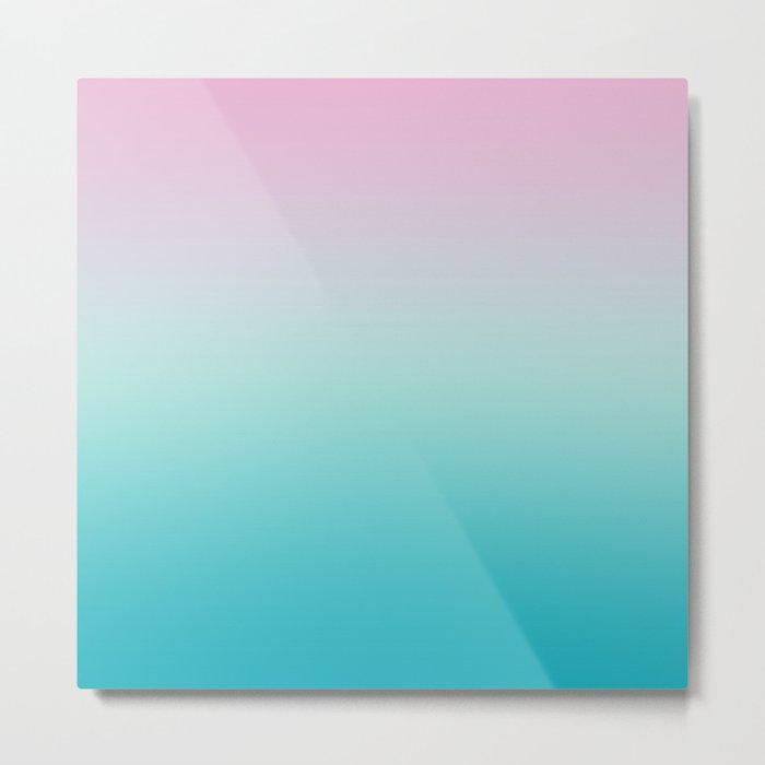 Pastel Ombre Pink Blue Teal Gradient Pattern Metal Print