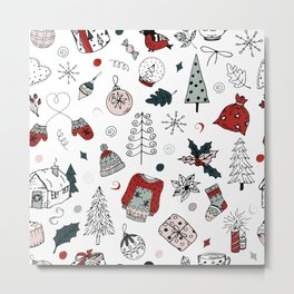 Christmas holiday pattern, winter hand drawing background. Metal Print