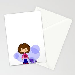 Girl love her Cat - Brown hair Stationery Cards