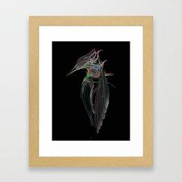 Kingfisher 1d. Color lines on black background-(Red eyes series) Framed Art Print