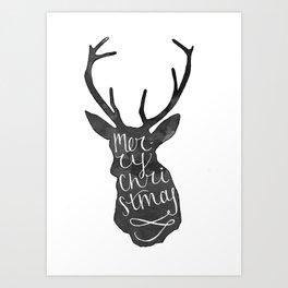 Merry Christmas Deer (4) Art Print