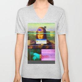 Mona Lisa _corrupt Unisex V-Neck