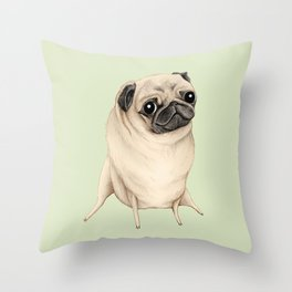 Sweet Fawn Pug Throw Pillow