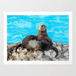 Where the River Meets the Sea Otters Art Print