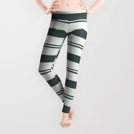 Night Watch Color of the Year PPG1145-7 Thick and Thin Horizontal Stripes on Delicate White Leggings