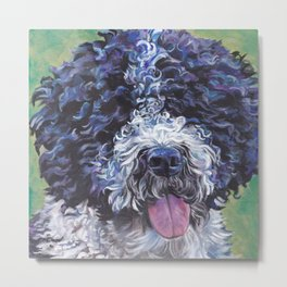 Spanish Water Dog dog art portrait from an original painting by L.A.Shepard Metal Print