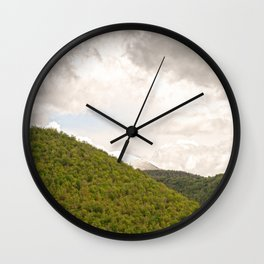 Dramatic summer mountain cloudscape Wall Clock